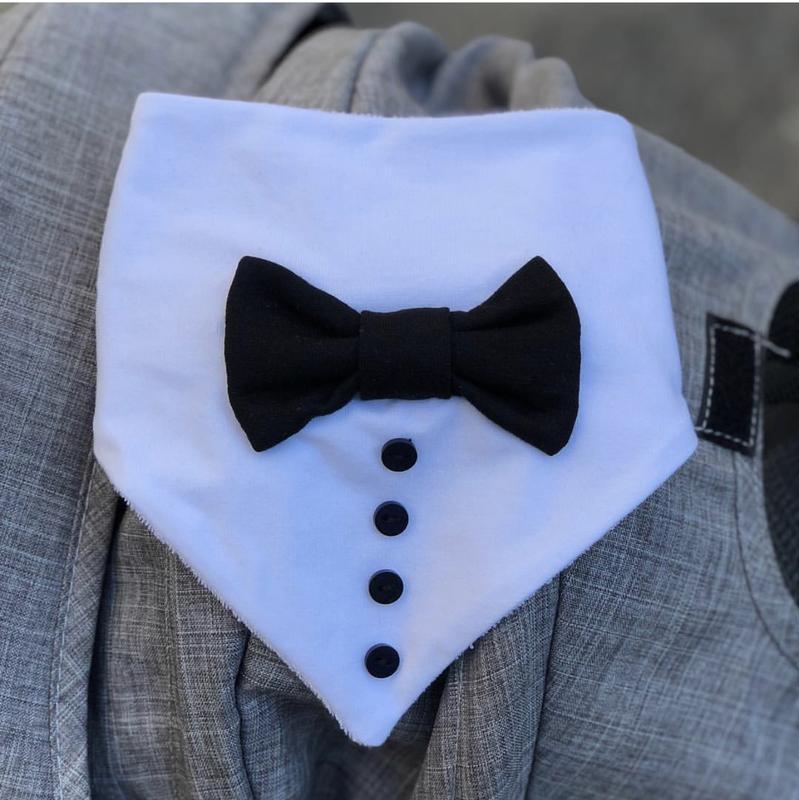 Слюнявчик «джентельмен» белый с чёрной бабочкой