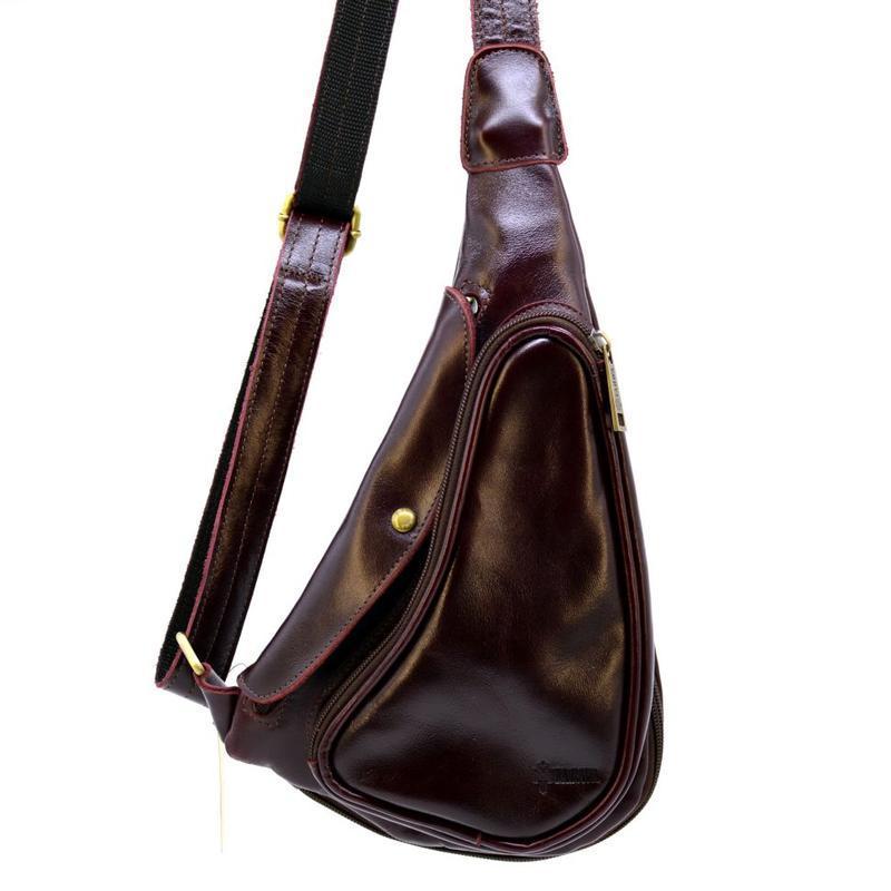 Мини-рюкзак из натуральной кожи на одно плечо GM-3026-3md TARWA цвета Марсала