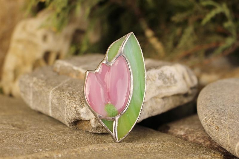 Брошь тиффани розовый тюльпан Подарок на День матери Подарок девушке, маме
