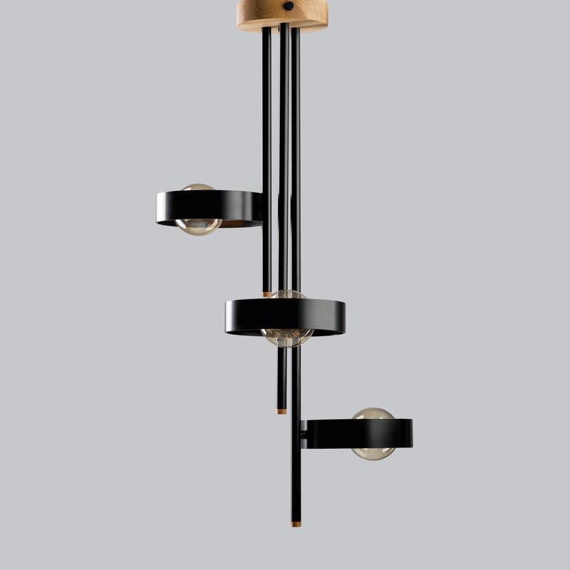 люстра в стиле лофт L200 round из металла и ясеня