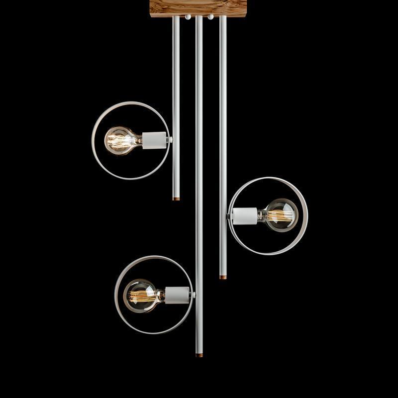 Люстра в стиле лофт L200 -3 из металла и ясеня