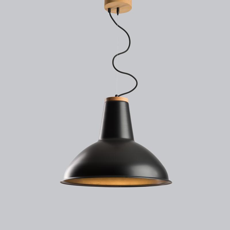 Светильник подвесной в стиле лофт D460 из металла и ясеня