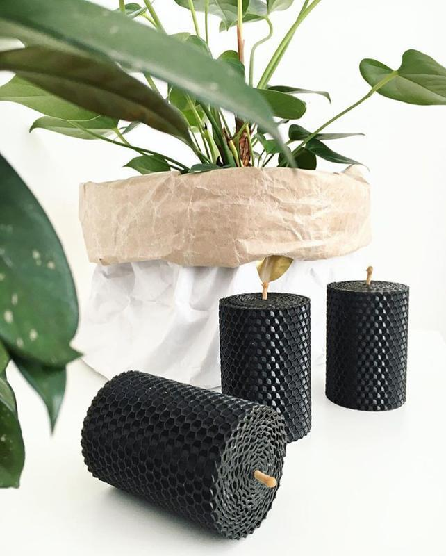 Набор из трех ЕКО свечей черного цвета для дома и декора интерьеров, в подарочной упаковке