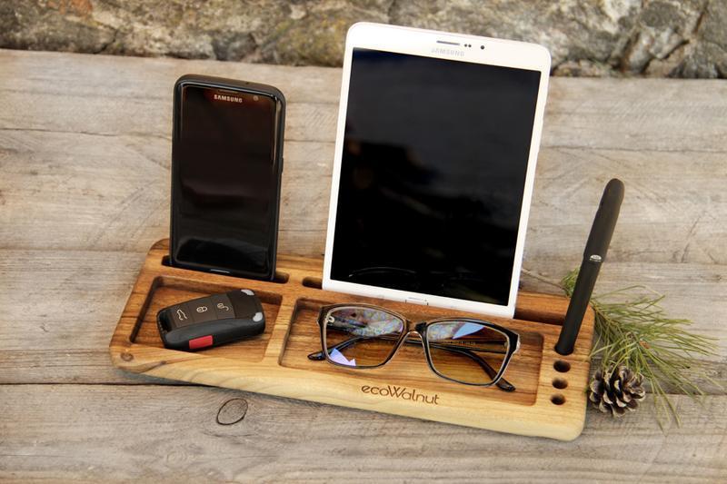 Органайзер Деревянная Подставка Для Телефона Планшета Смартфона iPhone Очков Ключей Часов Из Дерева
