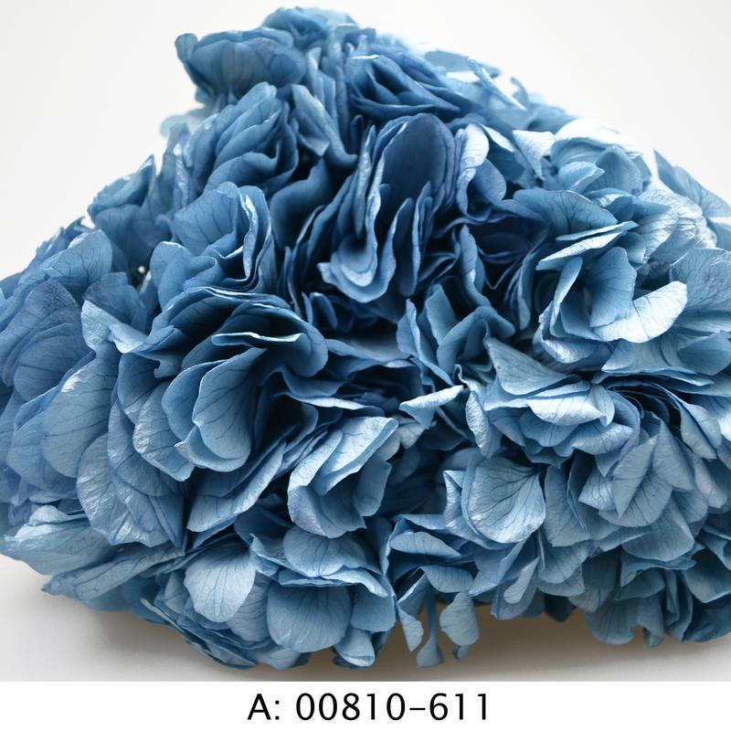 Стабилизированная гортензия со стеблем для флористики и декора, голубая
