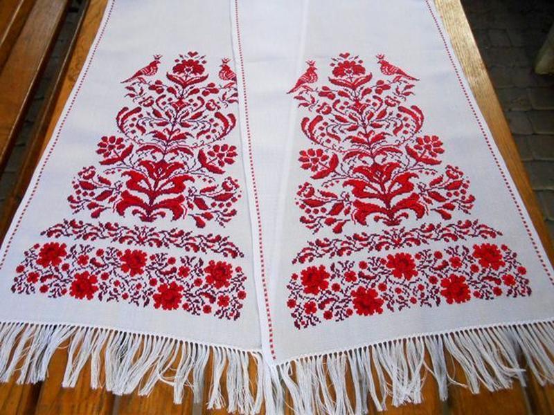 Свадебный вышитый рушник Княжеский (Дерево жизни большое). Эффект ручной вышивки.
