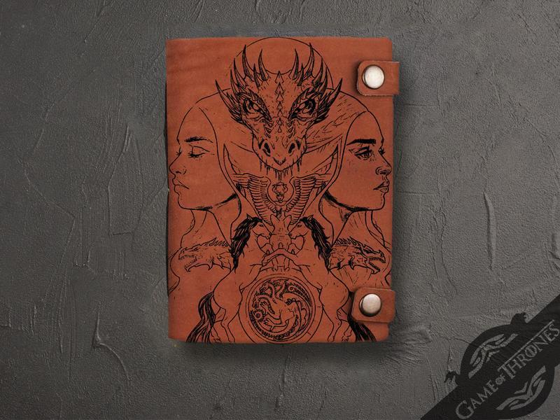 """Кожаный блокнот с гравировкой """"Дейенерис Таргариен"""" из серии Игры престолов"""