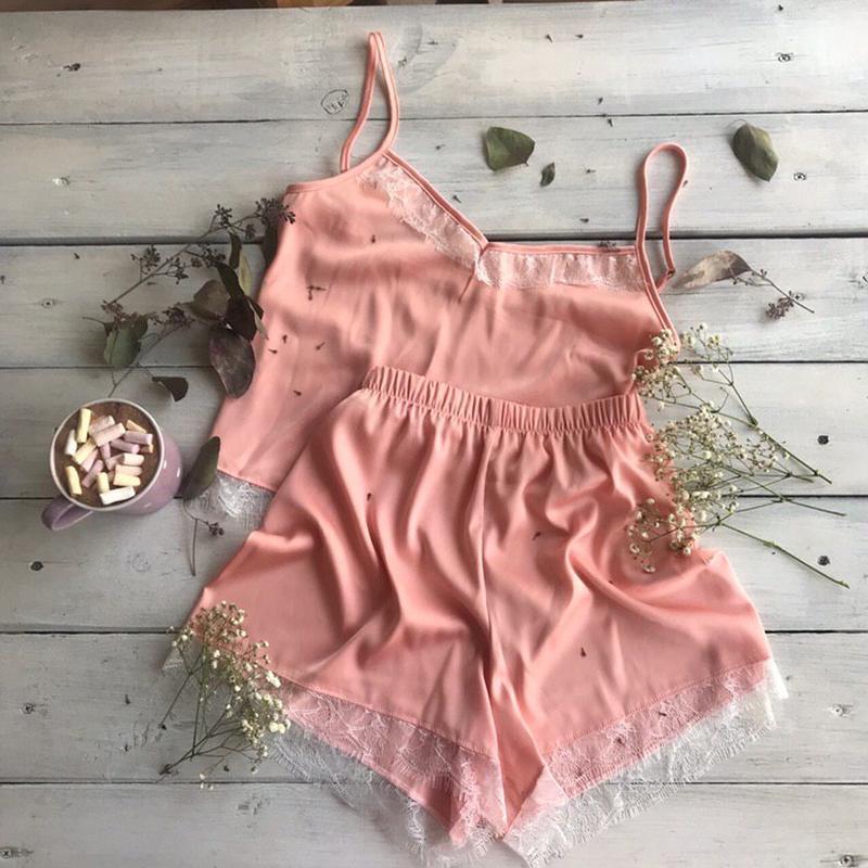 Пижама из шелка с французским кружевом | Персиковая (пудра) | шелковая пижама, пижама для сна
