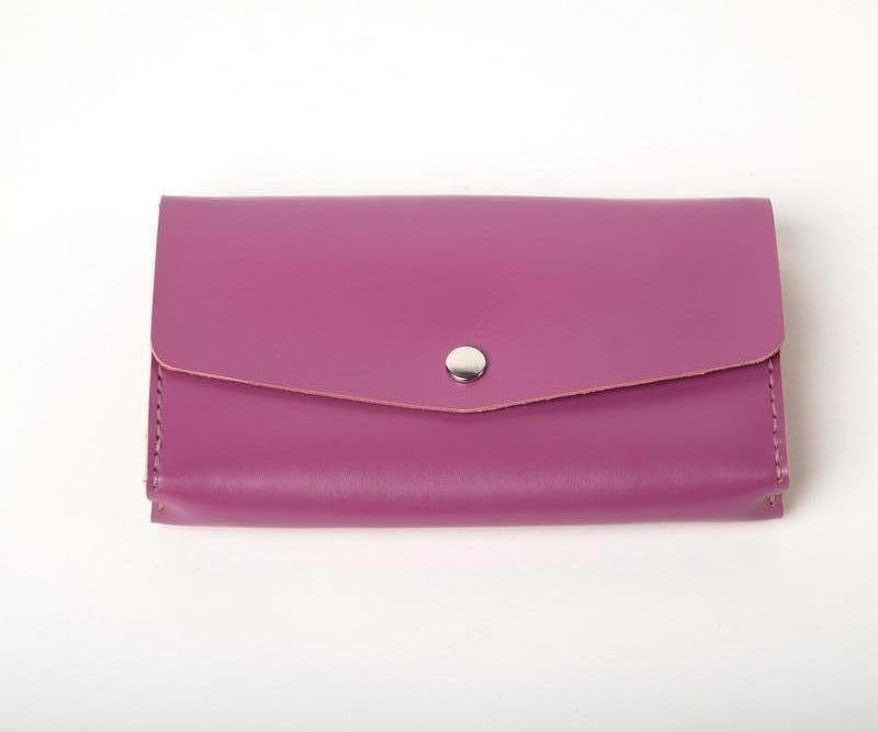 Женский кожаный клатч кошелек (3 card) «Nice Lilac» на кнопке с отделом для монет