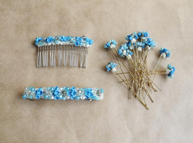 Голубые шпильки для волос с цветами, украшение волос, подарок девушке