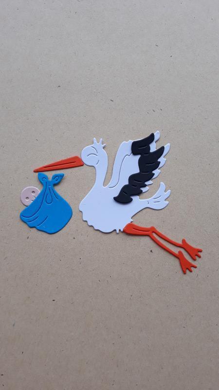 набор картонной вырубки Аист с ребенком