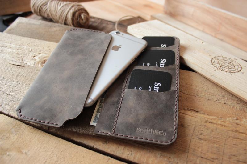 be09ee535949 Кожаный чехол для телефона с отделениями для кредитных карт и  наличных.Кожаный портмоне для телефона. 699грн. Купить