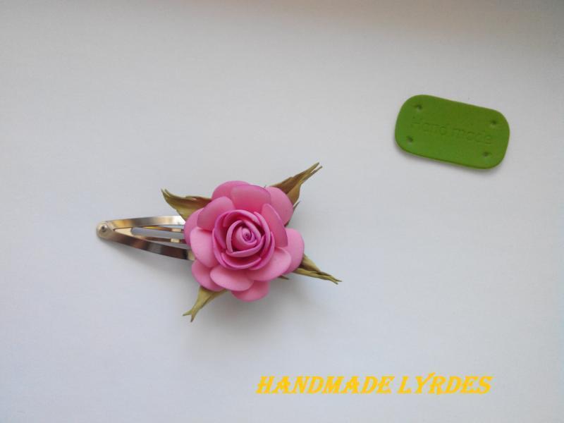 "Заколка (тик-так) ""Розовая роза"""