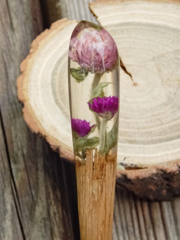 Заколка с гомфреной Шпилька для волос из дерева и смолы Палочка Канзаши для пучка Розовый цветок