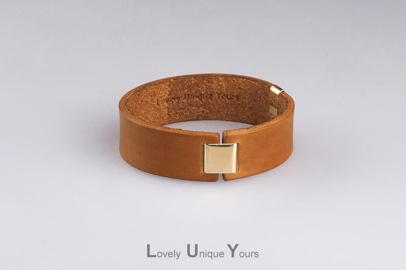 Мужской кожаный браслет LUY N8 цвет кэмел