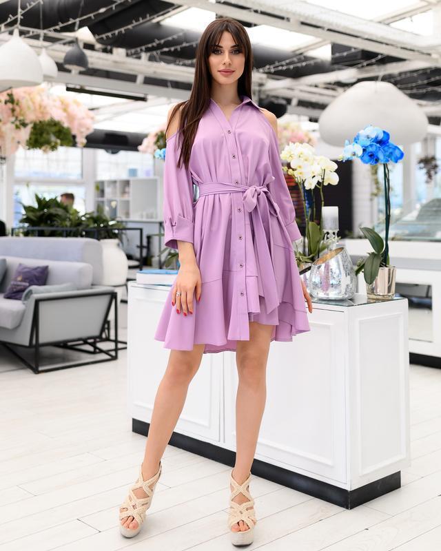 Платье-рубашка с ассиметричным низом
