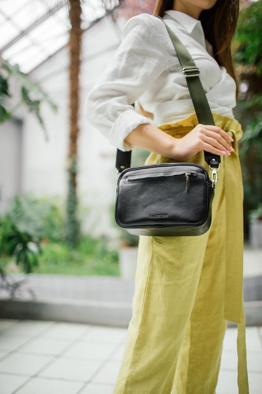 Стильная кожаная сумка кроссбоди (Хаки)