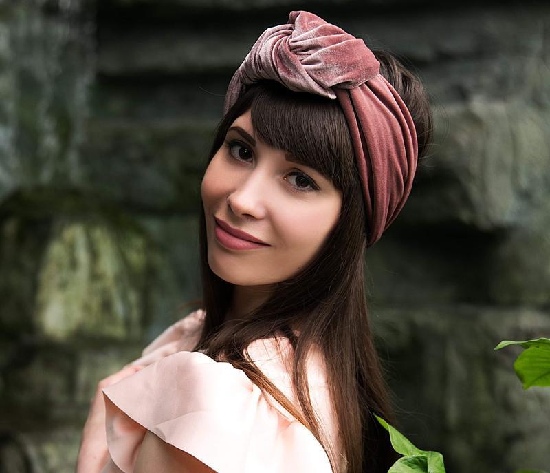 """Бархатный тюрбан """"Пудровая роза"""", повязка тюрбан, головной убор, шапка тюрбан, подарок женщине"""