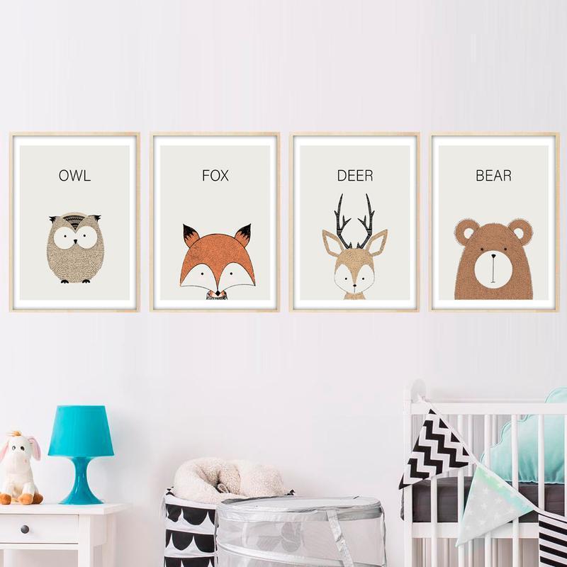 Постеры для детской с животными