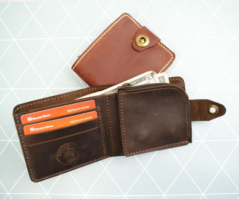 Кожаный кошелек мужской коричневый