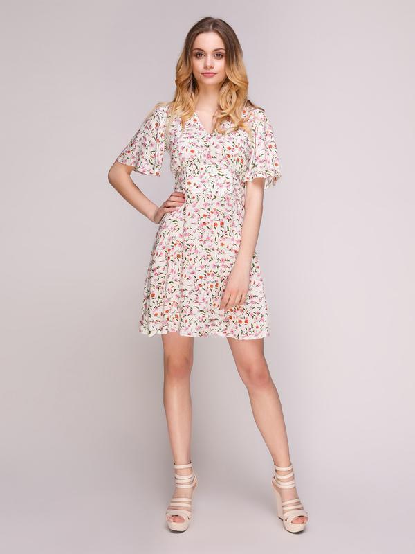 Платье белое в цветочный рисунок