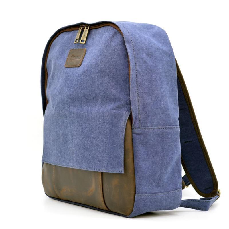 144bb391c504 Молодежный рюкзак канвас с кожаными вставками RK-7224-4lx TARWA ...