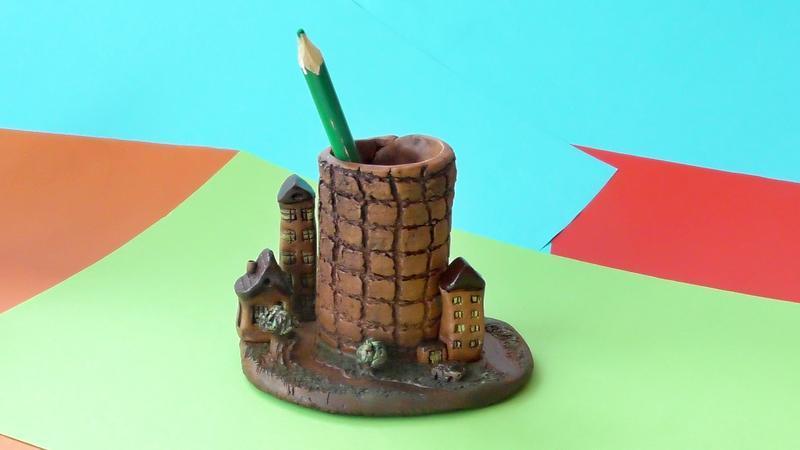 Карандашница керамическая с Домиками