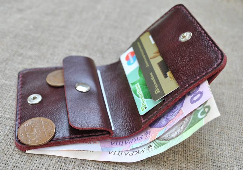 Компактный кожаный кошелек K92-бордо