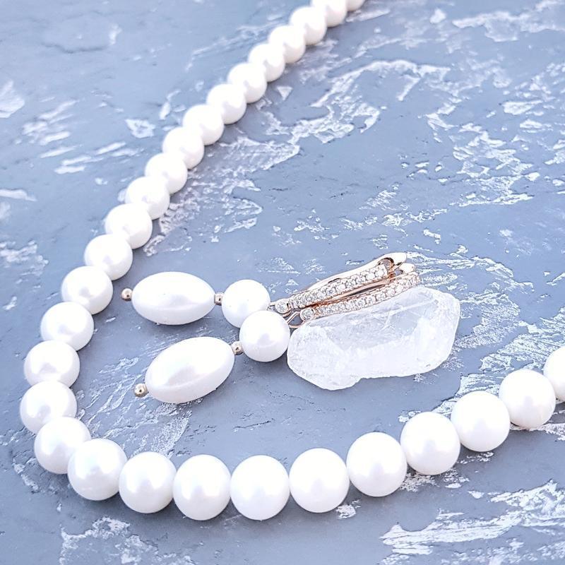 Комплект из натурального жемчуга в позолоте ожерелье и серьги бусы из жемчуга серьги свадебные