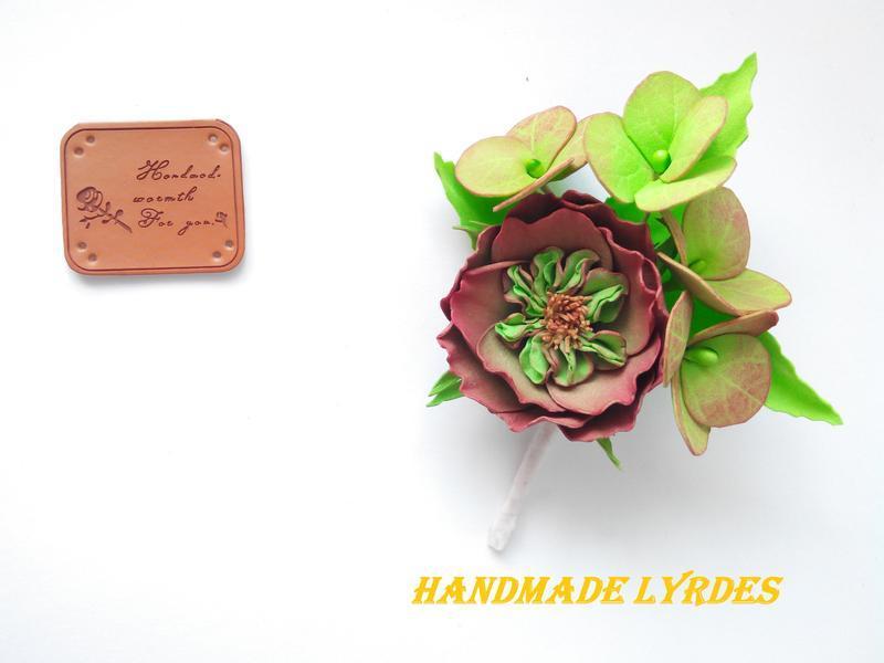 """Брошь-бутоньерка """"Пионовидная роза с гортензией"""""""