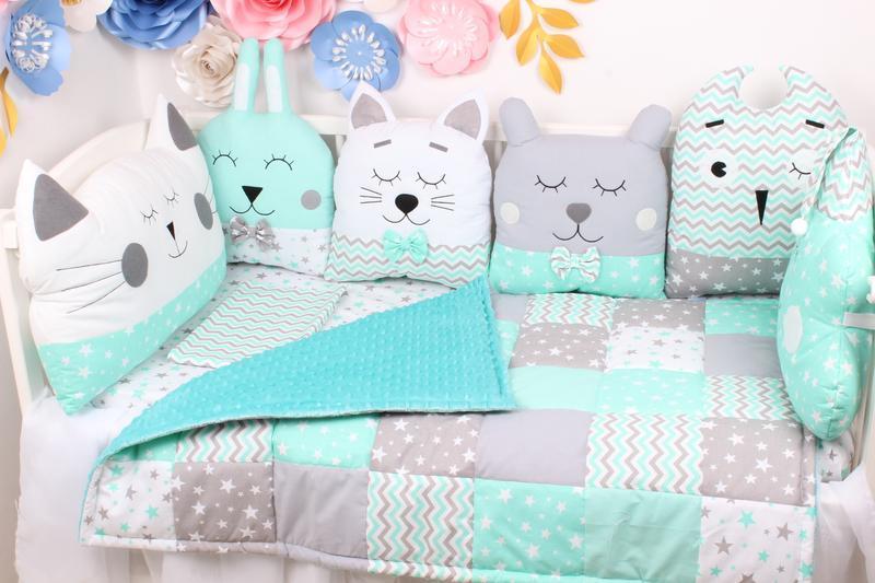 Комплект в кроватку с подушками игрушками Мирамель 60х120 см в мятных тонах