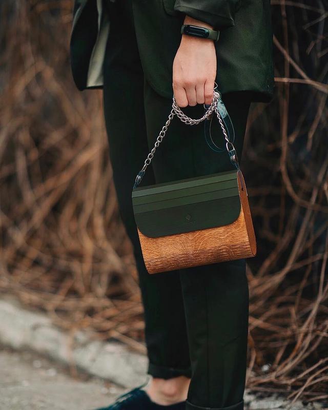 Женская деревянная сумка FIGLIMON в оттенке хаки
