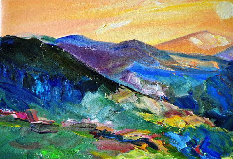 """Картина маслом """"Цветы в лучах заката"""", пейзаж живописи, 60х80 см"""