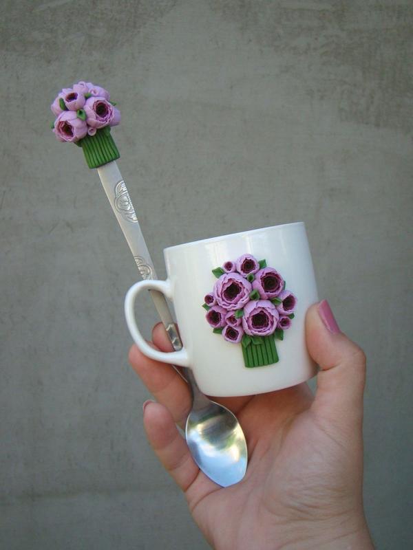 Подарочный набор кружка+ложка с цветами