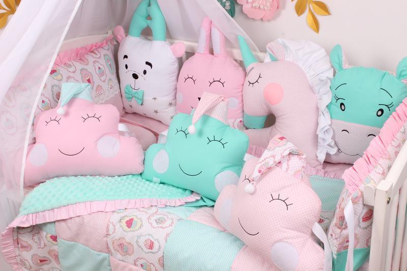 Комплект в кроватку в Розово-Мятных тонах 90х120 см Мирамель