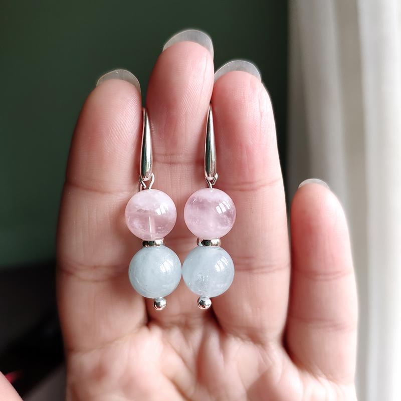 Серьги серебряные с розовым кварцом и аквамарином, Короткие красочные сережки