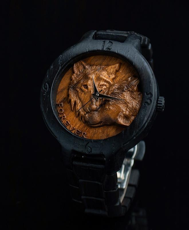 WOLFS   Морений дуб 400 років і Кап Горіха   Наручний дерев'яний годинник   наручные часы