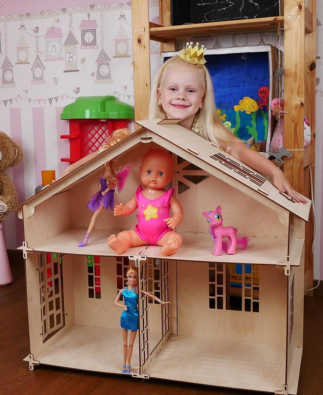 Большой домик для кукол, кукольный домик с мебелью (конструктор). Ляльковий будинок. Код 004.01.01