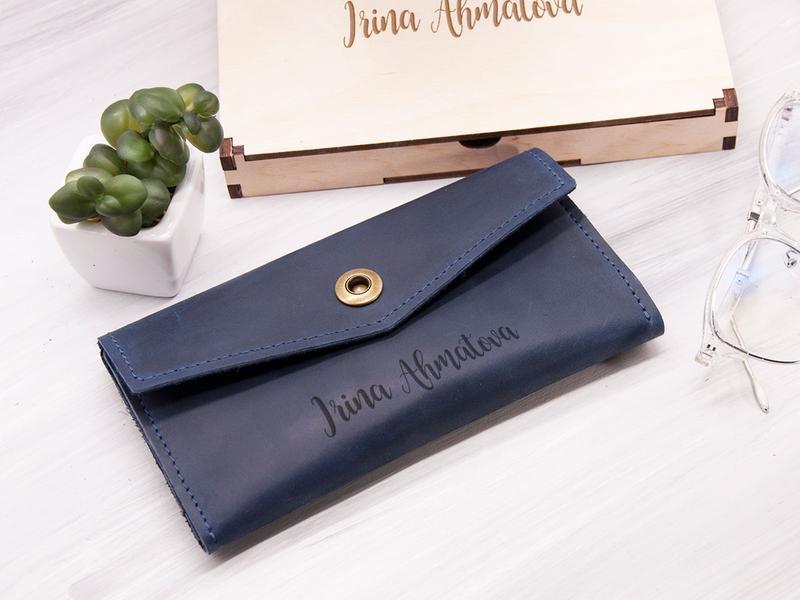 Кожаный женский кошелек с именной гравировкой на заказ