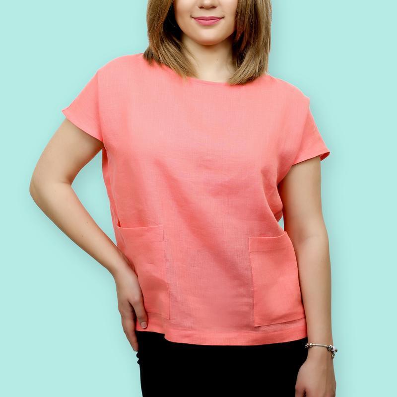 Летняя блузка из льна, индивидуальный пошив