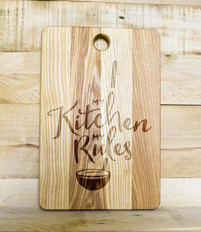 """My kitchen - my rules"" разделочная доска, доска для подачи из дуба 03"