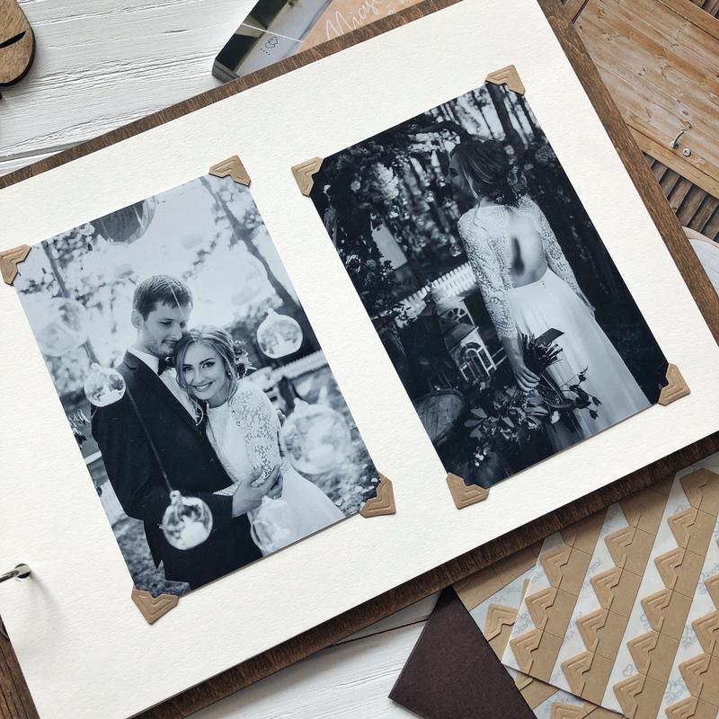 """Свадебный фотоальбом / Свадебная гостевая книга """"Green Wreath""""."""