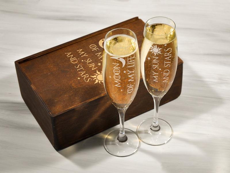 Набор бокалов для шампанского с гравировкой «Игра престолов», оригинальный подарок на свадьбу