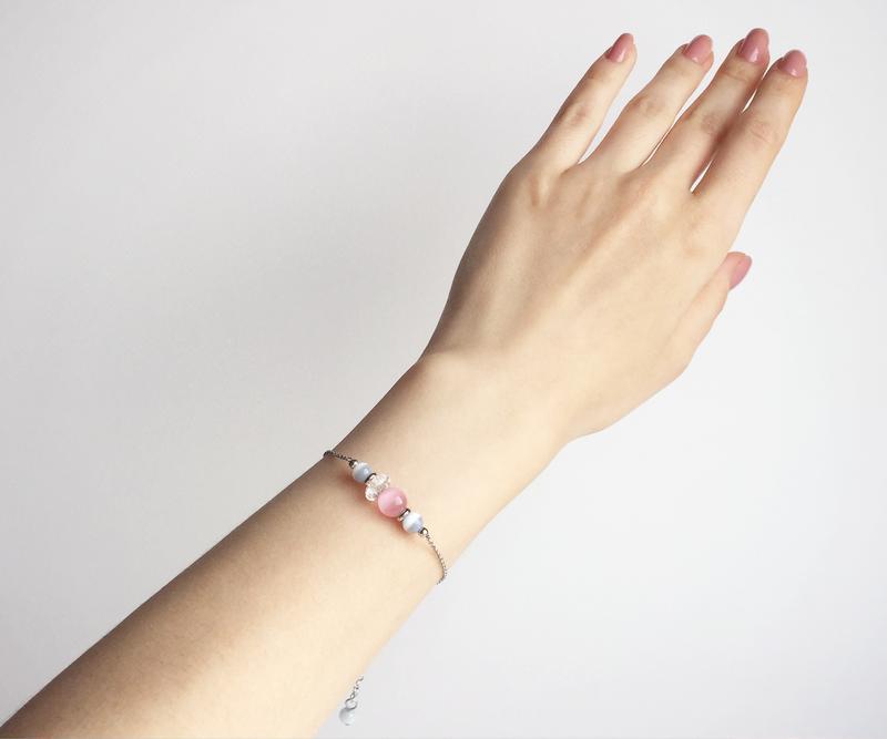 Браслет из кошачьего глаза и горного хрусталя  (модель № 340) JK jewelry