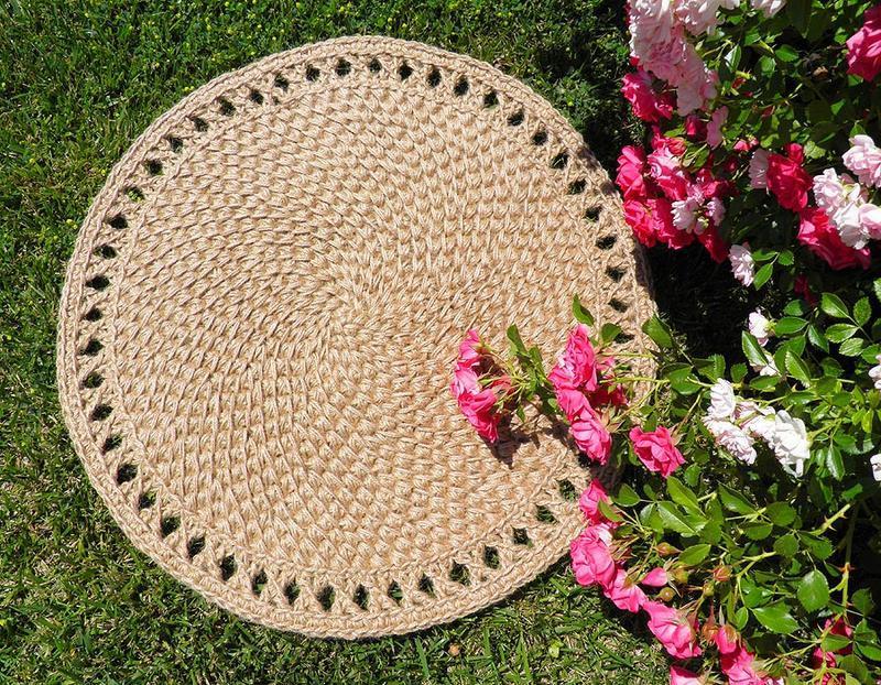 Коврик, Коврик из джута, циновка круглая (55cм)
