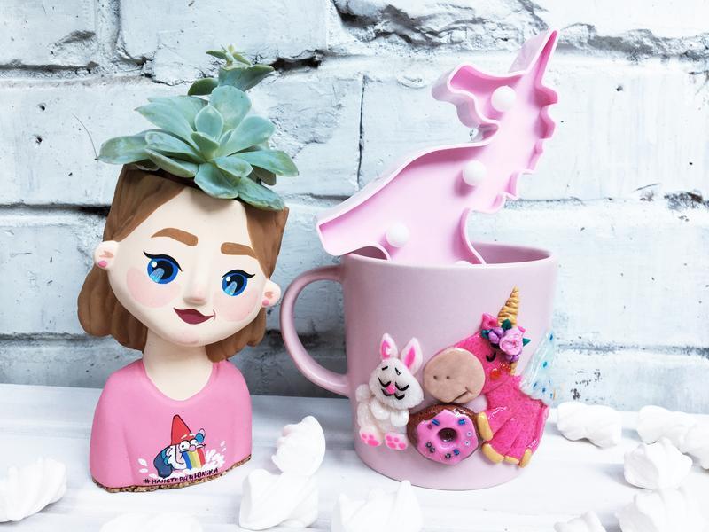 """Чашка """" Единорог"""" с полимерной глины"""