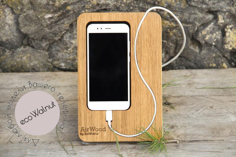 Настольный Деревянный Органайзер Держатель Подставка Для Смартфона Телефона iPhone Из Дерева Подарок