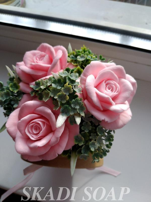 Мыльный букет розы, букет из мыла розы