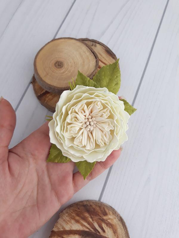 Заколка зажим для волос молочная пионовидная роза, украшение для прически молочная роза