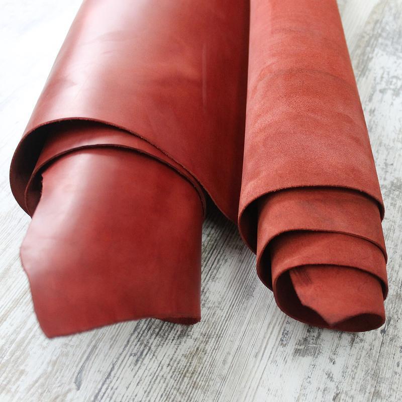 Натуральная кожа Crazy Horse красный